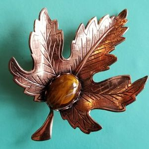 Vintage Copper leaf brooch pin brown cabochon